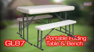 sealey gl87 portable folding table u0026 bench set youtube