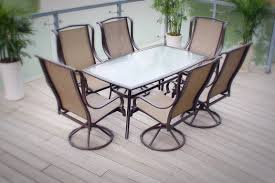 outdoor patio dining furniture sling 7pc set bronze aluminum steel