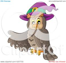 cartoon of a halloween owl wearing a witch hat and pointing