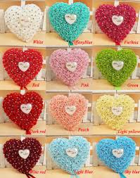 red wedding favors hang ring pillow with transprent box heart