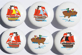 Pirate Room Decor Pirate Ship Drawer Pull Knobs Ceramic Cabinet Pulls Pirate