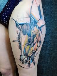 geometric watercolor horse head tattoo on thigh art pinterest