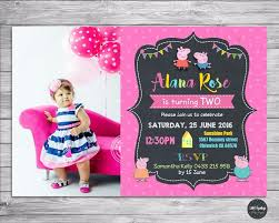 Birthday Party Cards Invitations Peppa Pig Invitation Personalised Birthday Party Custom Photo