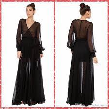 see through soft net long sleeve black casual dresses floor