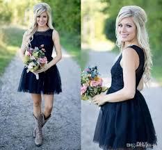 2017 dark navy country style short bridesmaid dresses sheer neck