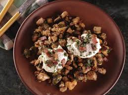 roast turkey brussel sprout and sweet potato hash with mixed herb