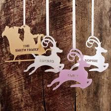 personalised reindeer sleigh tree decoration twist