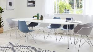 Modern White Satin Oval Extending Dining Table  Seater - Oval kitchen table
