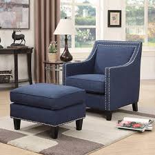 Accent Chair With Ottoman Emery Navy Blue Accent Chair With Ottoman Furniture