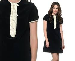 velvet tuxedo dress 60s mini black and white 1960s mod shift