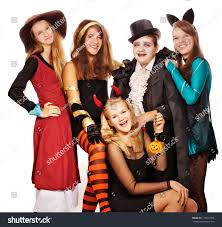 halloween costumes with white background teenagers dressed costumes halloween against white stock photo