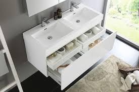 fresca mezzo 48 inch white wall mounted double sink bathroom vanity