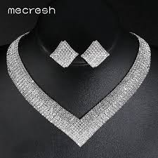 bridal necklace sets silver images Classic crystal bridal jewelry set silver for women mcm fashion jpg