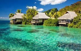 download wallpaper ocean azure bungalow island free desktop