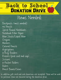 accepting donations for the back to school donation drive