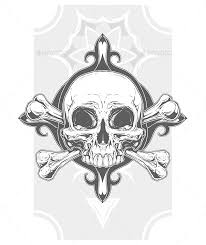 grey human skull with two bones tattoo by gb art graphicriver