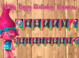 Happy Birthday Flags Trolls Happy Birthday Banner Trolls Banner Trolls Flag Troll