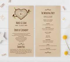 rustic wedding program wedding programs lemonwedding
