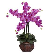 Silk Flowers In Vase Arrangements 31 In H Orchid Phalaenopsis With Decorative Vase Silk Flower