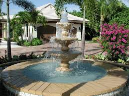 awesome front yard decoration idea with best water fountain design