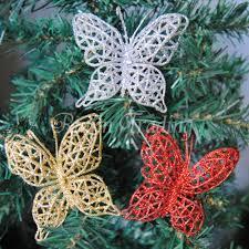 10pcs 7 5cm christmas tree decor glitter hollow butterfly flower
