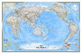Wall Map National Geographic Maps World Classic Pacific Centered Enlarged