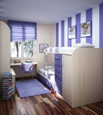 Decorate Small Bedroom Bunk Beds Amazing Small Space Blue White Strips Cool Rooms For Teenagers