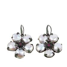 flower earrings klein jewelry baroque pearl multigemstone flower sterling