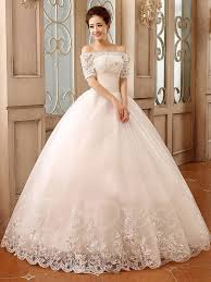 ball gown bateau short sleeves lace up wedding dress tbdress com