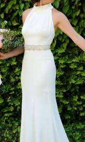 wedding dress high neck vera wang white high neck halter wedding dress 700 size 4