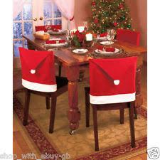 Christmas Table Decoration Uk santa hat felt christmas table chair covers ebay