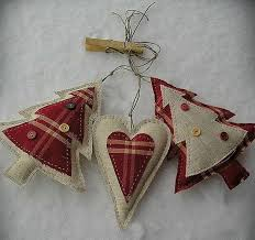 decorations fabric hearts trees