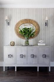 Mirror Credenza Gold Oval Mirror Over Gray Credenza Cabinet Contemporary