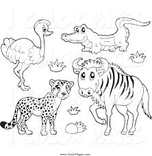royalty free wild animal stock coloring page designs