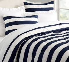 Blue And White Comforters Marlo Stripe Comforter U0026 Sham Pottery Barn
