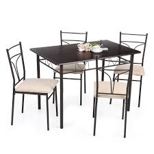 Dining Kitchen Furniture Ikayaa 5pcs Modern Metal Frame Dining Kitchen Table Chairs Set For
