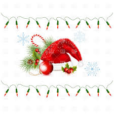 santa u0027s hat and string of christmas lights vector clipart image