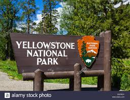 Wyoming national parks images Entrance to yellowstone national park wyoming usa stock photo jpg