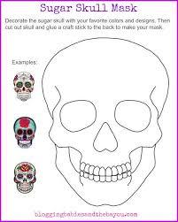 sugar skull mask printable dia de los muertos day of the dead