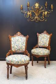 charles eastlake pair antique victorian revival walnut parlor side chairs