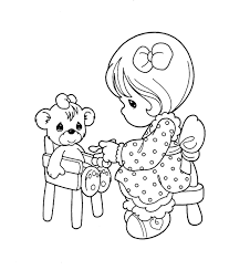 precious moments was playing her doll coloring pages for kids