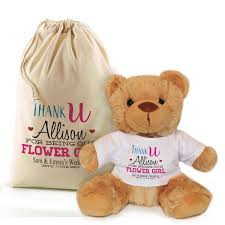 flower girl teddy gift thank you for being our bridesmaid flower girl personalised