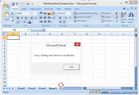 excel vba prevent adding new worksheet