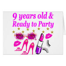 9th birthday for girls greeting cards zazzle