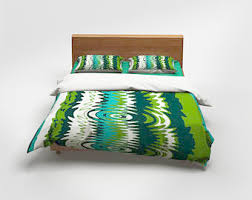 green duvet cover etsy