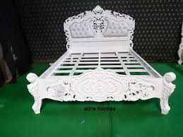 Rococo Bed Frame Bespoke White 5 King Size Carved Mahogany Designer