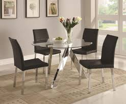 dining room set of 4 espresso woo dining chairs and matching modern round glass target dining table with mirrored legs and black dining chairs for dining room