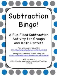 subtraction bingo a great way to have your students practice