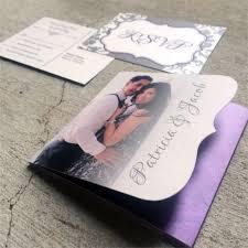 tri fold wedding invitation template wordings die cut tri fold wedding invitation in purple and