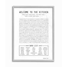 black and white prints for kitchen 16 in x 20 in black and white kitchen crossword puzzle sign gray farmhouse rustic framed wall by shawnda craig